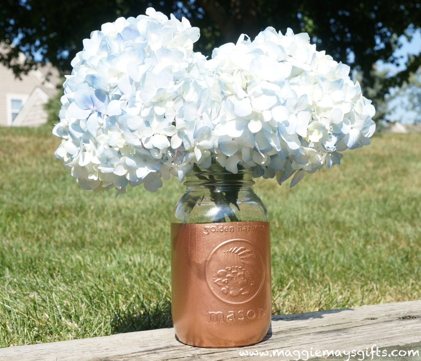 Copper mason jar vase