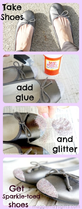 Make Sparkle-toed Shoes using glitter and mod podge