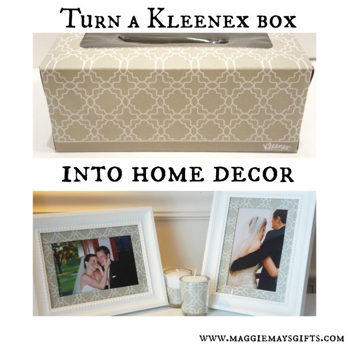 use a kleenex box for home decor-https://maggiemaysgifts.wordpress.com/2015/02/19/turn-a-kleenex-box-into-home-decor/