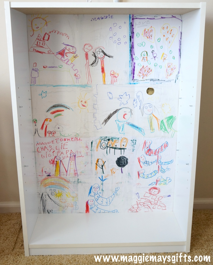 Turn your kid's artwork into a custom bookcase