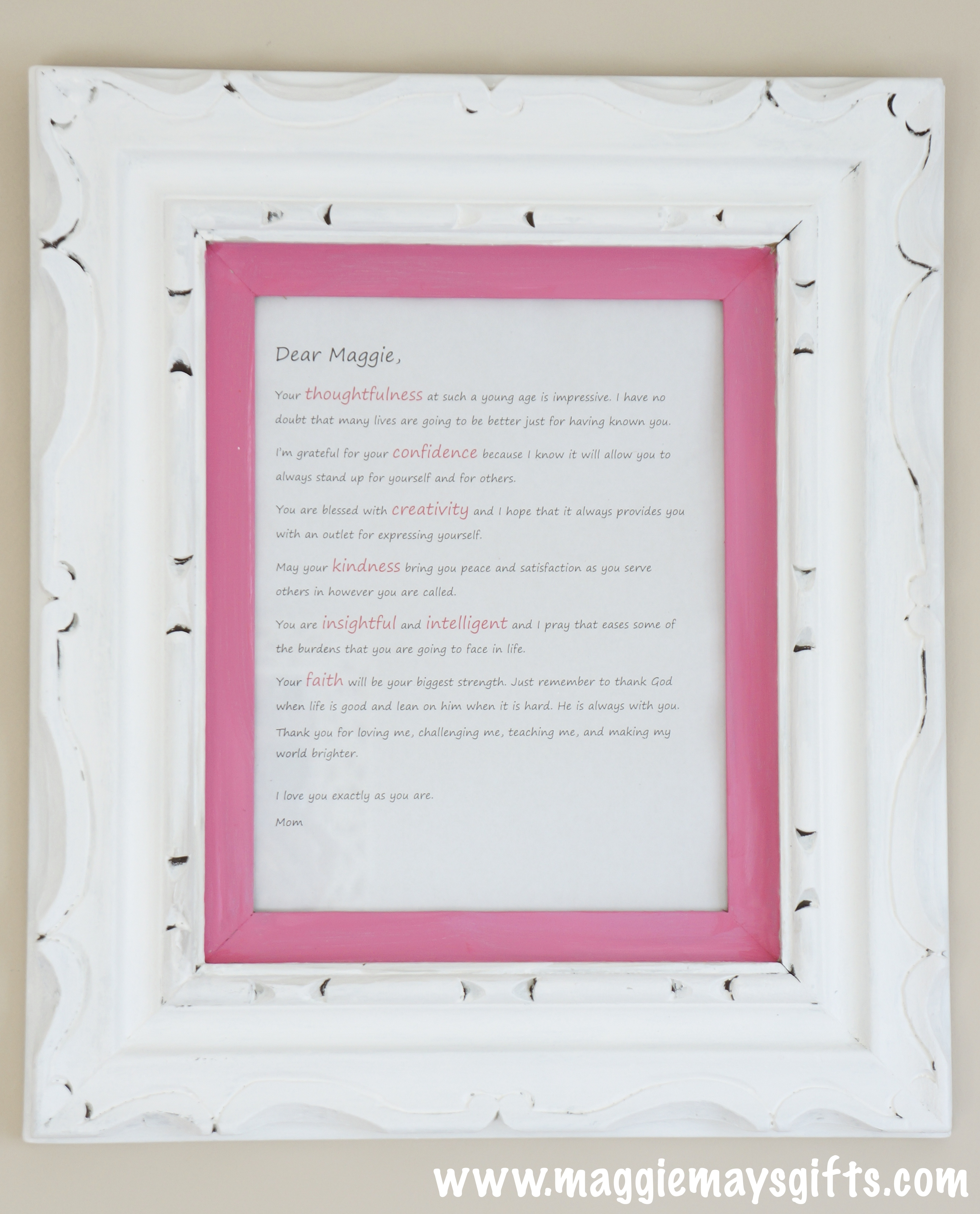 Frame And Display A Love Letter Maggie Mays
