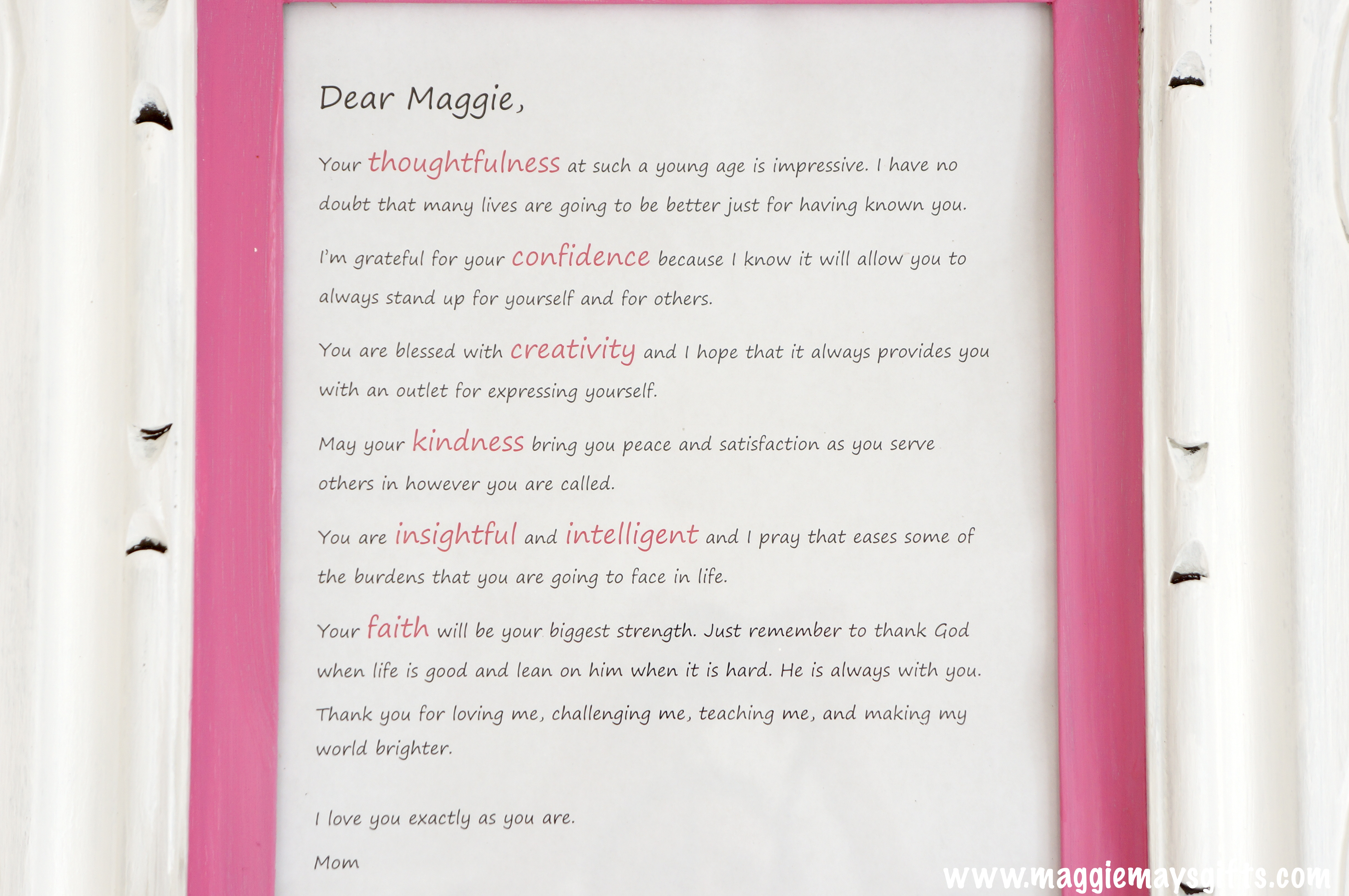 Frame And Display A Love Letter | Maggie May\'s