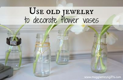 use old jewery to decorate flower vases