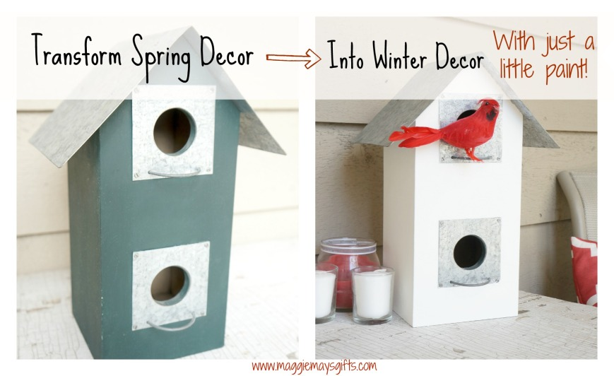 transform spring decor into winter with paint-birdhouse